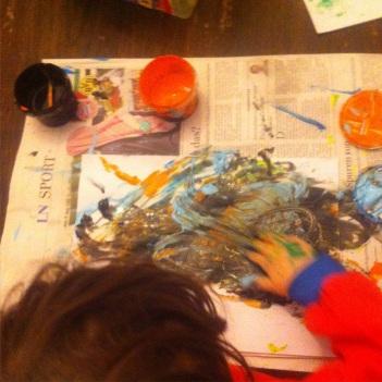 Fingerfarben, Malen mit Fingerfarben, Kinder malen