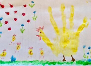 Hühner und Küken mit Fingerfarben malen