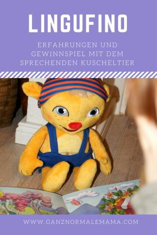Unsere Erfahrungen mit dem sprechenden Kuscheltier Lingufino. Diese Puppe samt Abenteuerbuch gibt es zu gewinnen. Mit dem interaktiven Spielzeug können Kinder beim Sprechenlernen gefördert werden.