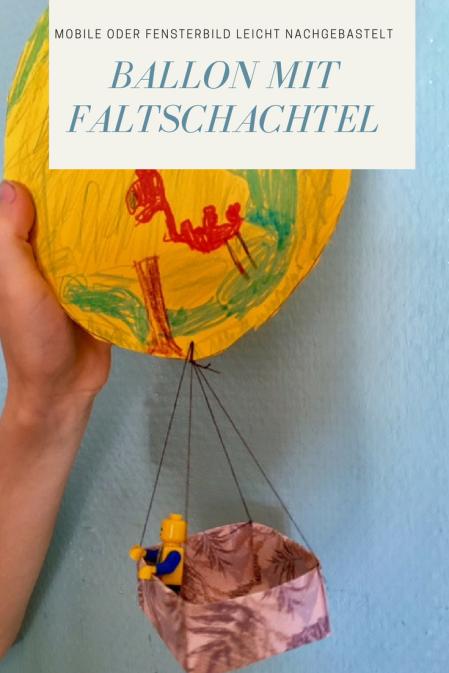 Basteln mit Kindern: Ein Fesselballon als Mobile oder Fensterbild mit einer Origami-Schachtel. Können auch Kinder basteln und falten, ideal für den Herbst auch als Herbst-DIY und Deko