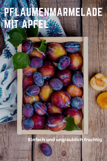 Fruchtige Pflaumenmarmelade mit Apfel und ein wenig Zimt: Schnell zu kochen ist diese Marmelade, das Rezept geht mit Zwetschgen oder Pflaumen. #rezept #marmelade #pflaumen