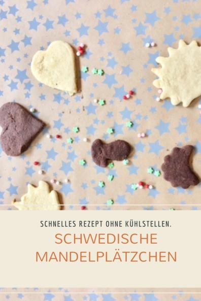 Rezept für schwedische Plätzchen mit gemahlenen Mandeln: Mit und ohne Kakao, schnell zu backen. Teig muss nicht kühl gestellt werden. Schmecken nicht nur zu Weihnachten. #weihnachten #plätzchen #backen