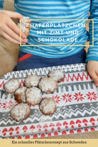 REzept für HAferplätzchen mit Zimt und Schokolade: Haferkekse mal weihnachtlich, schnell zu backen, ein Rezept aus Schweden. Mit Zimt und Mandeln und Schokolade. #backen #plätzchen #weihnachten