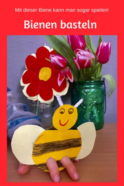 Kinderleichtes DIY für den Frühling: Eine Biene basteln. Handpuppe aus Pappe zum Spielen. Können auch Kinder unter 3 basteln und Kindergartenkinder. Bastelei für Ostern. #basteln #ostern #diy